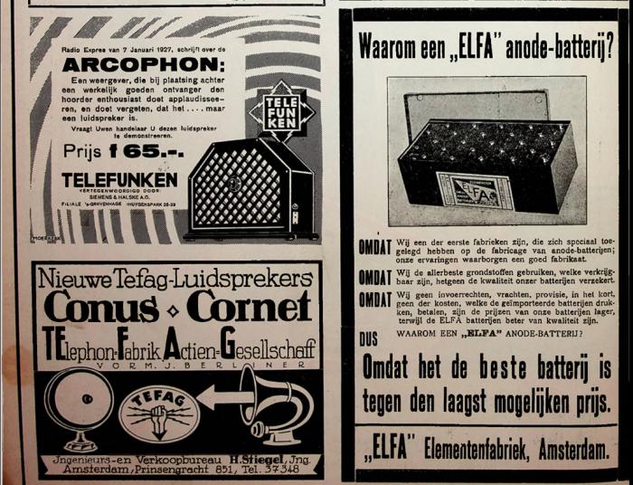 Oude advertentie Elfa